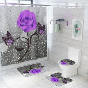 Floral Bath Mat and Shower Curtain Set Shower Curtain with Hooks Bath Rugs Anti Skid Bathroom Carpet Toilet Foot Pad Bath Mat 200925