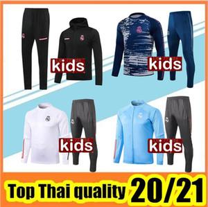 2020 2021 Real Madrid Enfants Tracksuit Capuche Jacket Training Costume Veste de Football Chandal 20 21 Real Madrid Jeunes Jeunes Suisse