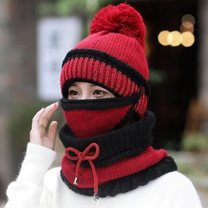 New Autumn Winter Women's Hat Caps Knitted Warm Scarf Windproof Multi Functional Hat Scarf Set Outdoor Cycling Sport