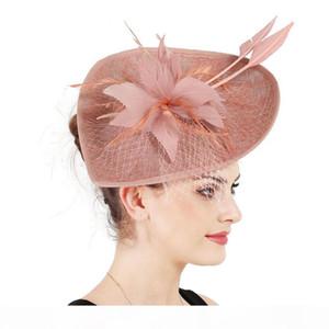 Mingli Tengda Şeftali Şekli Kadınlar Zarif Sarı Tiara kuş kafesi Veil İçin Örgün Parti Şapka Fotografik Gelin Şapkalar Düğün Şapka