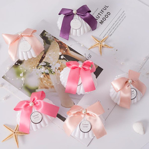Sweet Shell Packaging Box with Bowknot for Candy Jewelry Engagements Wedding Party Favor 12pcs lot DEC503