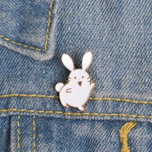 30pcs Lot Oil Drop Alloy Rabbit Brooch Student Cartoon Cute White Rabbit Badge Wholesale Unisex Enamel Animal Pins Accessories