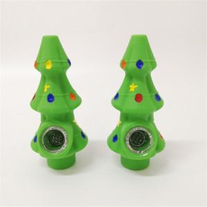 Árvore de Natal do Silício tabaco de tubulação do fumo forma de árvore Bong Mini Silicon Cachimbo Bongo DHL GRÁTIS