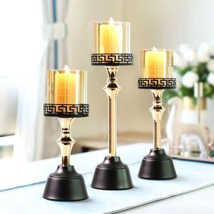 Titulares de vela de vidro alto suporte Coluna Coluna Metal Tealight Candle Candle Candlestick Lâmpada Mumluk Jantar Tabela AD50CH