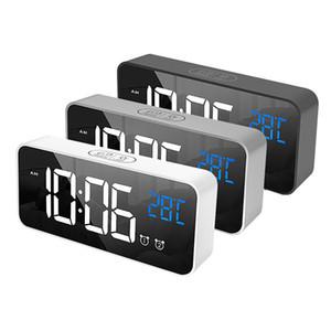 السرير الإيقاظ الرقمية مرآة بقيادة الموسيقى المنبه مع غفوة درجة الحرارة ميزان الحرارة الصوتية صوت الخلفية تحكم