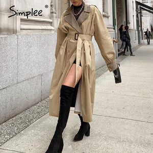 Simplee Elegante Khaki Herbst Winter Frauen Graben High Street Mode Langarm Winddichte Mantel Split Lace Up Geraden Mantel 2020