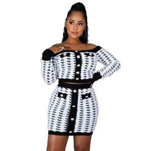 Fashion OL Style Button Designer Womens Dress Suits Sexy Slash Neck Long Sleeve Short Dress Womens Clothing 2 Piece Set