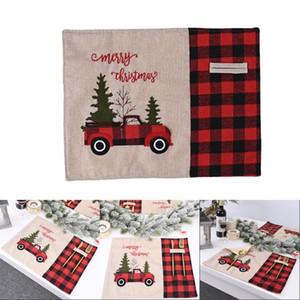 Voiture d'arbre de Noël napperon famille Décor de table en tissu noir rouge Lattice durable Tapis Stain absorption résistant à l'humidité 9 21cy G2
