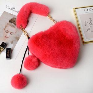 Fur Handbags Gift Purse Lady HBP Fashion Bags Melf Fa Plush Tote Female Handbag Heart Teenage Shape Party Girl Kawaii Phone New Winter Pxba