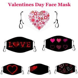 2021 New Valentines Day Gift Face Masks Adult Couple Happy Valentines Day Masks Dustproof Printed Red Love Adjustable Mouth Mask FY9336