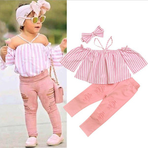 Girls Clothing Sets Summer Baby Kids Girls Off-shoulder Shirt Stripe T-shirt Tops Pants Children Clothes Sets