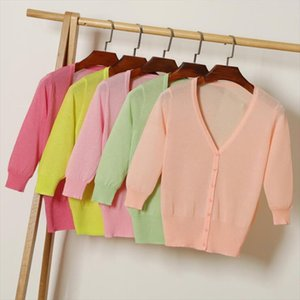 Queechalle 20 Colors Thin Knitted Cardigans Womens Transparent V neck Cardigan Coat Female Solid Casual Tops Ice Silk Outerwear