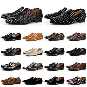New fashion mens loafers shoes red bottoms triple black suede Patent Leather Rivets loafer Dress Wedding Business shoes size 39-47
