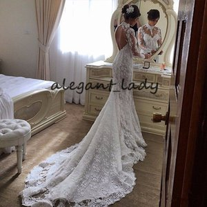 High Neck Mermaid Wedding Dresses with Long Sleeve 2021 Arabic Fairy Flowers Lace Applique Backless Bride Gown Vestido De Noiva