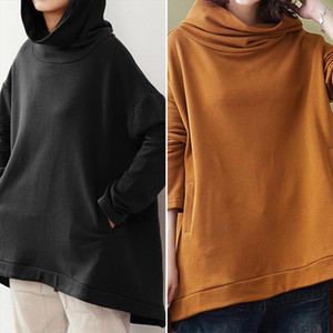 Women Hoodies 2020 Spring Ladies Casual Pullovers Solid Hooded Pullover Top Mujer Loose Pockets Sweatshirts Plus Size 5XL