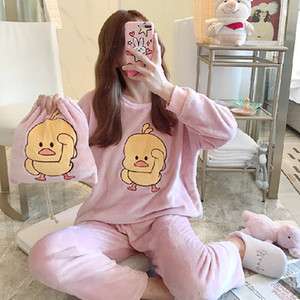 Winter Women Pijama Sleepwear Pajamas Storage Flannel Pajamas Homewear Neck Warm Round Cute With Pyjama Set Velvet Cartoon Bag C1115 Bskhp