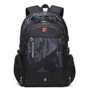 RUSHISABER Водонепроницаемый человек рюкзак подходит 17 дюймов ноутбук USB зарядки путешествия рюкзаки школьные сумки многослойные карманные мужские mochila 201114