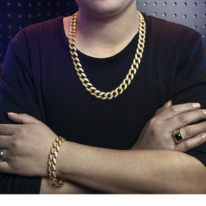 High Quality Full Copper Mens Hip Hop Bling Jewelry Sets MIAMI CUBAN LINK Necklace & Bracelet Iced Out Rock Chains 1.5cm Gold Silver