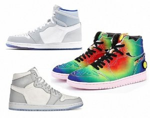Avec Box Hommes Femmes Feeless Moka Satin Digital Retro Shoes 1 1S Mensjumpman Man Basketball Court Sneakers 36- S8WX #