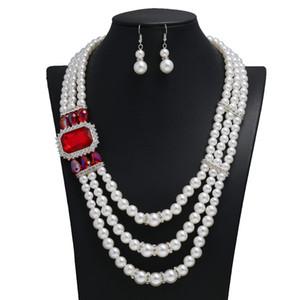 Multi camada pérola colar de casamento brilhando novos conjuntos baratos strass acessórios de jóias nupciais cristais de cristais cinzas