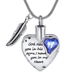 """الله لديه في مجوهرات سحريات ذراعيه مع قلادة القلب الجناح القلب لالركاس مجوهرات رماد جثث """"urn charm"""""""