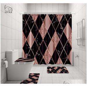 Nyaa 4 pz decorazione mosaico decorazione doccia tenda piedistallo coperchio coperchio della toilette tappetino tappetino da bagno set per bagno Qylbew BDEBABY