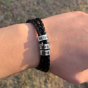 Personalized Mens Braided Genuine Leather Bracelet Stainless Steel Custom Beads Name Charm Bracelet for Men with Family Namesps2190