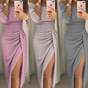 Elegant Abend formale Kleider 2021 Frauen HIP-bedeckte Schlitz One-Line Kragen Kleid Funkelnde Kleid Abenddesigner WWOMens Kleider