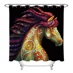Custom Colored Wild Horse Waterproof Fabric Shower Curtain Set Bathroom Hooks