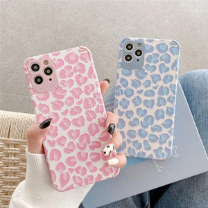 For iphone 12 Pro Max Phone Case Pink Blue Leopard TPU Soft Shell Protective Cover For iphone 12 Mini Xs 8 7 Plus
