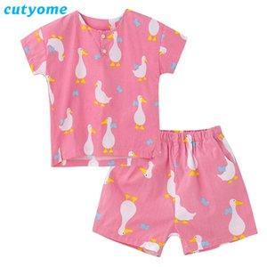 Cutyome Yaz Çocuk Pijama Takımı Kısa Kollu Karikatür% 100 Pamuk Bebek Erkekler Kızlar Pijamas Çocuk Sleeprobe Homewear Giyim C1114 Ördek