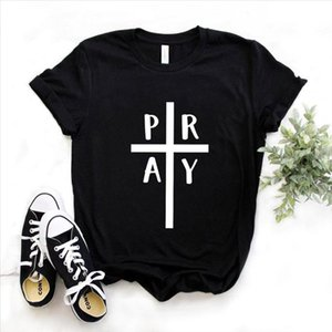 Pray Cross jesus faith christian Print Women tshirt Cotton Casual Funny t shirt Gift Lady Yong Girl Top Tee 6 Color A