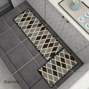 회색 먼지 방지 바닥 매트 간단한 주방 욕실 새 스타일 출입구 카펫 다이아몬드는 레트로 매트 카펫 인쇄 확인