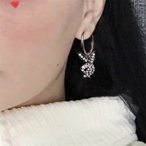 Exclusive Rhinestone rabbit earing fashion jewelry heart stainless steel punk korean style women Y200918