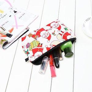 Professional Make Up Tool With Drawstring Christmas Pencil Bags Makeup Kit Beautiful Santa Claus Print Bag Xmas Gift