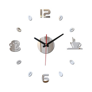 new diy wall clock watchesModern living europe large decorative 3D mirror acrylic horloge Home Decoration