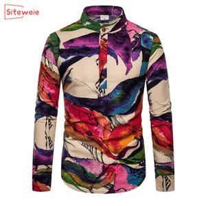 SITEWEIE marca de moda de los hombres de negocios casual camisas impresas de gran tamaño camisa de los hombres adelgazan la blusa de días festivos camiseta G436