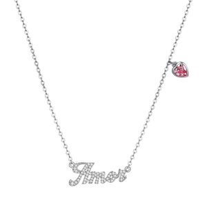 New Fashion S925 Sterling Silver Letter Amor Diamond Necklace Wholesale