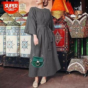 Celmia Bohemian Dress Women 2021 Summer 3 4 Sleeve Vintage Striped Long Dresses Casual Loose Belted Party Vestidos Plus Size 5XL #Qm9N
