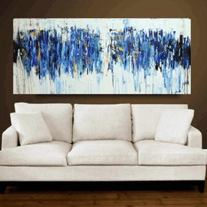 100% Hand Painted Turquoise Oil Painting Modern Abstract Canvas Paintings Home Painting Calligraphy On Wall Art Gift Unframed