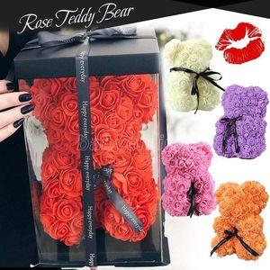 장미 테디 베어 새로운 발렌타인 데이 선물 25cm 40cm 꽃 곰 인공 장식 크리스마스 선물 여성을위한 발렌타인 선물
