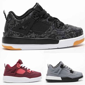 Infant 4S IV True Berry Kids basketball shoes Valentines Day Sngl Dy TATTOO Boy & girl children athletic sports sneakers Trainers Cool Grey