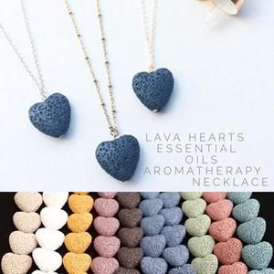 Collar del corazón de roca de lava colgante 9 colores aromaterapia esencial difusor de aceite en forma de corazón de piedra collares para las mujeres Moda joyería A0097