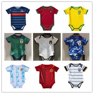 20 21 Fransa Arjantin Bebek futbol Jersey 6-18 ay bebek gömlek 2020 2021 İtalya Hollanda Japonya Maillot de ayak sürünmek elbise futbol