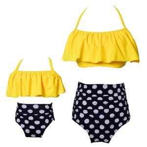 Sexy swimwear Parent-child Swimsuit two Pieces High waist women bikinis Crop Top lady kids girls bikini Beachwear Bandage style one