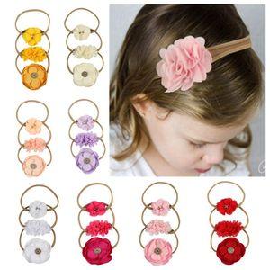 2019 New Chiffon Flowers Children Baby Girls Rubber Bands Headwear Hair Accessories Girl Flower Hair Ropes Boutique ponytail holder