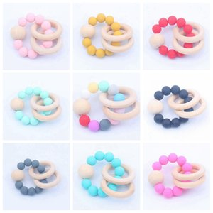 Wooden Teethers Toys Infant Silicone Chew Nursing Bracelets Baby Rattle Stroller Accessories Newborn Teeth Care Supplies 16 Colors DW5975