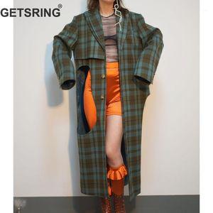 Getsring Kadınlar Trençkot Çift Yaka Tek Göğüslü Ekose Rüzgarlık Uzun Kollu Kadın Palto Düzensiz Tops1 Oymak