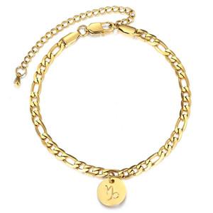 Constellations Anhänger Fuß Anklet Zodiac 8inch3inch 12 For Fashion Fußkettchen Frauen Charm Figaro Chain Link Extender DA42 tsetOom