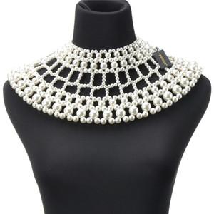 Dom feminino Collar JEROLLIN Bib Statement Chunky Colar Resin Pearls Branco / Ouro Big Choker Mulheres Partido Colar Jóias